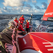 Leg 8 from Itajai to Newport, day 07 on board MAPFRE, Blair, Pablo, Antonio and Xabi on deck during their watch. 28 April, 2018.
