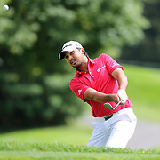 Jason Day, Australia, chips onto the green on the 11th hole during the third round of theThe Barclays Golf Tournament at The Ridgewood Country Club, Paramus, New Jersey, USA. 23rd August 2014. Photo Tim Clayton