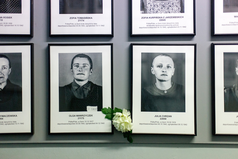 Images of registered prisoners on the walls at the Auschwitz Nazi concentration camp. It is estimated that between 1.1 and 1.5 million Jews, Poles, Roma and others were killed in Auschwitz during the Holocaust in between 1940-1945.