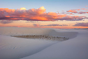 The last glow of sunset bathes the dunes, White Sands National Monument, New Mexico