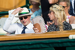 © Licensed to London News Pictures. 08/07/2017. London, UK. JASON KENNY and LAURA KENNY watch centre court tennis on the sixth day of the Wimbledon Lawn Tennis Championships. Photo credit: Ray Tang/LNP