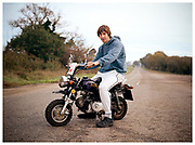 Shane Anderson on the Haughley New Road, Suffolk. Shot for Roadside Britain