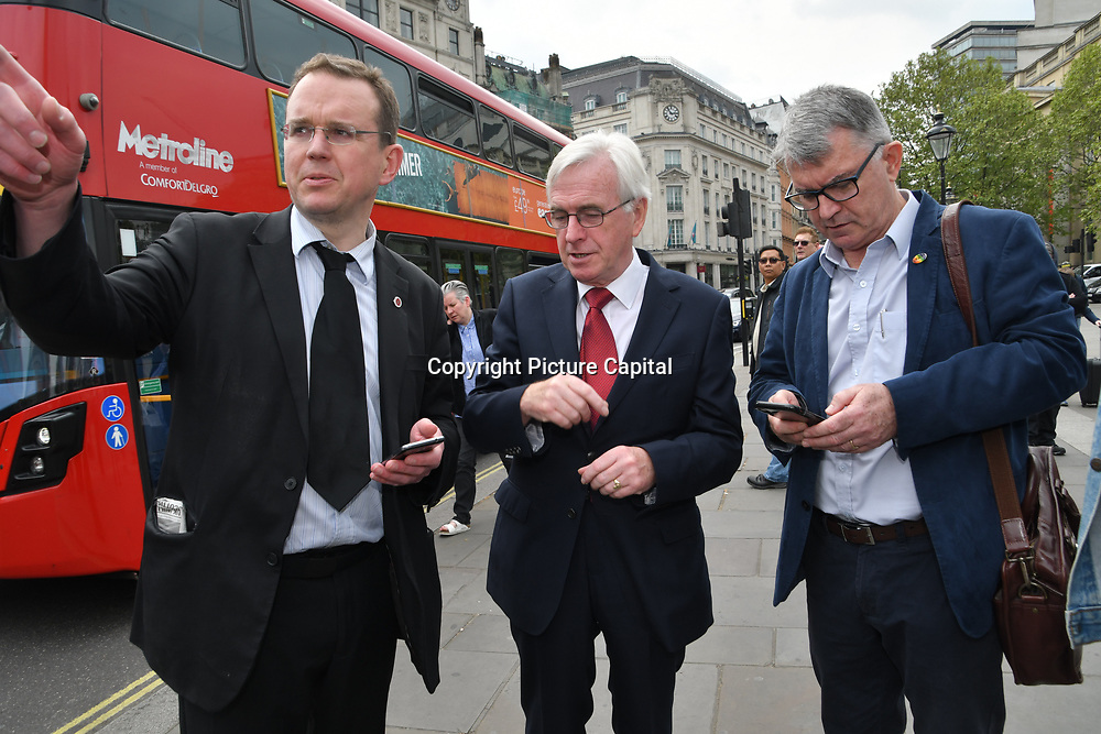 London, UK. 1st May, 2019.  Labour MP John McDonnell Shadow Chancellor of Exchequer attend The annual May Day rally in Trafalgar Square on May 1st, 2019 in London.