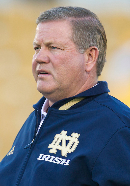 September 22, 2012:  Notre Dame head coach Brian Kelly during NCAA Football game action between the Notre Dame Fighting Irish and the Michigan Wolverines at Notre Dame Stadium in South Bend, Indiana.  Notre Dame defeated Michigan 13-6.