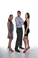 Group of 2 young happy businesswoman's with a concerned a serious man.