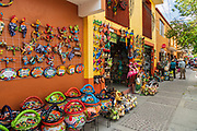 Colorful Talavera ceramic decorations on sale at the pottery market in Dolores Hidalgo, Guanajuato, Mexico. The town is where Independence leader Miguel Hidalgo issued the now world famous Grito - a call to arms for Mexican independence from Spain.