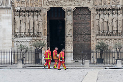 Firefighters inspect Notre Dame Cathedral after a giant fire was put down. French President Emmanuel Macron vowed to rebuild the 13th century building that welcomes tens of millions of worshippers and tourists per year. Paris, France, April 16, 2019. Photo by Samuel Boivin/ABACAPRESS.COM