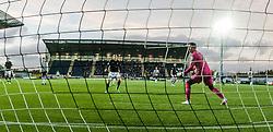 St Mirren's keeper Jamie Langfield watches as Falkirk's Will Vaulks scored their third goal. <br /> Falkirk 3 v 0 St Mirren. Scottish Championship game played 21/10/2015 at The Falkirk Stadium.