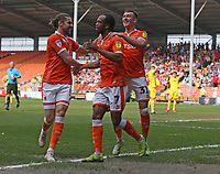 Blackpool's Nathan Delfouneso celebrates scoring his side's second goal <br /> <br /> Photographer Stephen White/CameraSport<br /> <br /> The EFL Sky Bet League One - Blackpool v Fleetwood Town - Monday 22nd April 2019 - Bloomfield Road - Blackpool<br /> <br /> World Copyright © 2019 CameraSport. All rights reserved. 43 Linden Ave. Countesthorpe. Leicester. England. LE8 5PG - Tel: +44 (0) 116 277 4147 - admin@camerasport.com - www.camerasport.com<br /> <br /> Photographer Stephen White/CameraSport<br /> <br /> The EFL Sky Bet Championship - Preston North End v Ipswich Town - Friday 19th April 2019 - Deepdale Stadium - Preston<br /> <br /> World Copyright © 2019 CameraSport. All rights reserved. 43 Linden Ave. Countesthorpe. Leicester. England. LE8 5PG - Tel: +44 (0) 116 277 4147 - admin@camerasport.com - www.camerasport.com