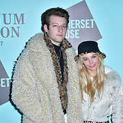 Jake Chatterton and Nell Hudson arrivers Skate at Somerset House with Fortnum & Mason Launch party, London, Somerset House, 12 November 2019, London, UK.