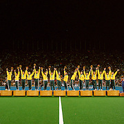 A panoramic image showing Australia defeating Argentina 3-1 to win the Gold Medal in the Women's Hockey at Sydney Olympic Park Hockey Stadium during the  2000 Sydney Olympic Games...Panoramic images from the Sydney Olympic Games, Sydney, Australia.  2000 . Photo Tim Clayton
