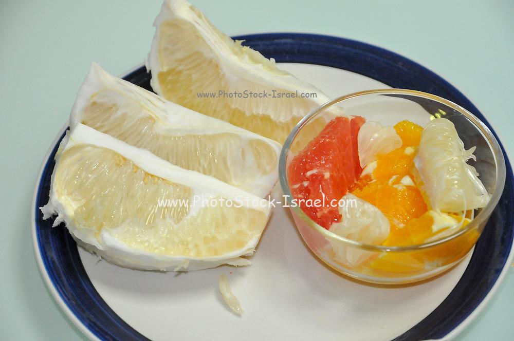A platter of citrus fruit grapefruit, oranges, blood oranges and pomelo