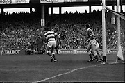 All Ireland Hurling Final - Cork vs Kilkenny.05.09.1982.09.05.1982.5th September 1982.Photo of Cork goalkeeper, Cuningham,as he clears from a free. here he is supported by two defenders on the line.