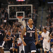 Ryan Boatright, UConn, celebrates after shooting a three during the UConn Huskies Vs Tulsa Semi Final game at the American Athletic Conference Men's College Basketball Championships 2015 at the XL Center, Hartford, Connecticut, USA. 14th March 2015. Photo Tim Clayton