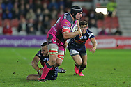 Gloucester no 8 Ben Morgan (8) powers through a tackle during the European Rugby Challenge Cup match between Gloucester Rugby and SU Agen at the Kingsholm Stadium, Gloucester, United Kingdom on 19 October 2017. Photo by Gary Learmonth.