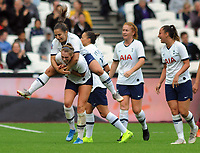 Football - 2019 / 2020 FA Women's Super League (WSL) - West Ham United vs. Tottenham Hotspur Women<br /> <br /> Rianna Dean of Spurs celebrates her goal with Kit Graham, at The London Stadium.<br /> <br /> COLORSPORT/ANDREW COWIE