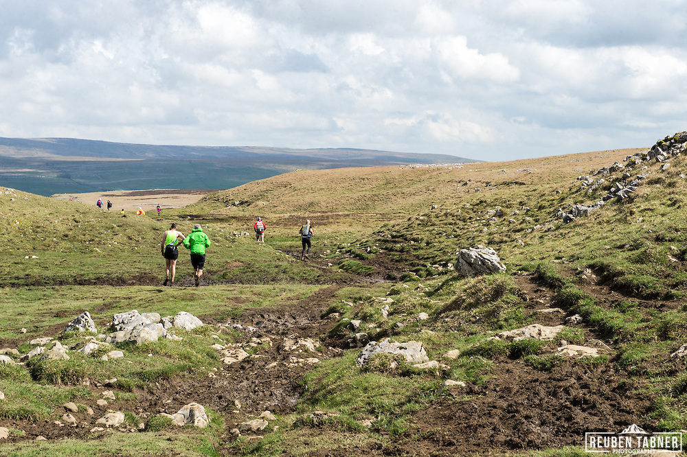The final stretch on the descent from Ingleborough in the Yorkshire Dales during the 60th Yorkshire Three Peaks Race.
