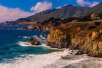 Big Sur coast between Carmel Highlands and Big Sur, Monterey County, California USA.