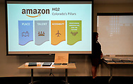 The Colorado proposal for the Amazon.com Inc's $5 billion second headquarters is unveiled at a meeting in Denver, Colorado U.S.  November 16, 2017. REUTERS/Rick Wilking
