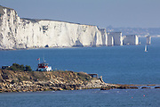 Peveril Point and Old Harry Rocks from Durlston Head. Purbeck, Dorset, UK.