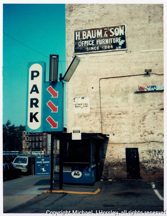 600 Block E Street NW, Washington DC, 1988<br /> (DC Space parking lot)