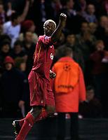 Photo: Jed Wee.<br />Liverpool v Anderlecht. UEFA Champions League.<br />01/11/2005.<br /><br />Liverpool goalscorer Djibril Cisse celebrates.