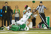 Marshall Thundering Herd wide receiver Michael Clark (7) makes a catch deep in North Texas Mean Green territory during the 2nd half at Apogee Stadium in Denton, Texas on October 8, 2016. (Cooper Neill for The Herald-Dispatch)