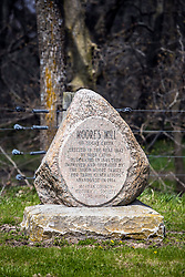 Moore's Mill dedication stone at the site where the old grist mill once operated