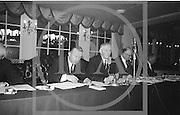 Alf  Murray, Armagh (right) President of the GAA addresses the Annual  Congress of the GAA at the Gresham Hotel, Dublin on Easter Sunday. On the left is the secretary of the GAA Sean O'Siochain...Annual Congress, GAA. 18.4.65. *** Local Caption *** It is important to note that under the COPYRIGHT AND RELATED RIGHTS ACT 2000 the copyright of these photographs are the property of the photographer and they cannot be copied, scanned, reproduced or electronically stored in any form whatsoever without the written permission of the photographer