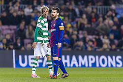 December 5, 2017 - Barcelona, Catalonia, Spain - FC Barcelona forward Lionel Messi (10) and Sporting CP defender Fabio Coentrao (5) during the match between FC Barcelona - Sporting CP, for the group stage, round 6 of the Champions League, held at Camp Nou Stadium on 5th December 2017 in Barcelona, Spain. (Credit Image: © NurPhoto via ZUMA Press)
