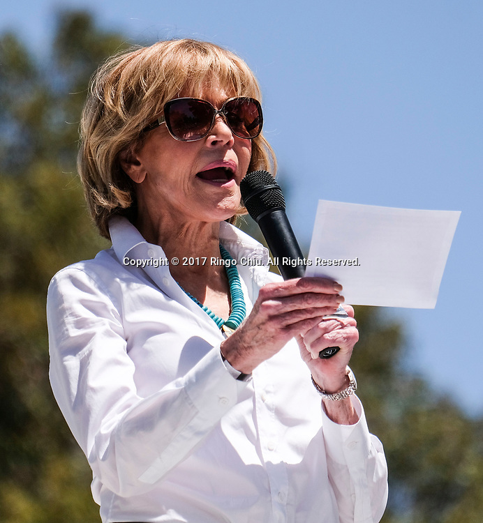 """Actress Jane Fonda speaks before the """"People's Climate March"""" a climate change awareness march and rally, in Los Angeles, Saturday, April 29, 2017. The gathering was among many others of its kind held nationwide marking President Donald Trump's 100th day in office.(Photo by Ringo Chiu/PHOTOFORMULA.com)<br /> <br /> Usage Notes: This content is intended for editorial use only. For other uses, additional clearances may be required."""