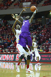 19 November 2011: Zavion Williams gets position on John Wilkins  during an NCAA mens basketball game between the Lipscomb Bison and the Illinois State Redbirds in Redbird Arena, Normal IL