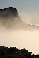 Skierffe mountain shrouded in mist, Sarek National Park, Laponia World Heritage Site, Sweden