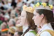 Lithuanian Song Celebration (Song and Dance Festival) 90th anniversary, Vilnius, Lithuania (6 July 2014). Pictured here, Song Day in Vingis Park, Vilnius. The Song Celebration in Vilnius is Lithuania's greatest cultural event, occurring only once every four years, and along with similar festivals in Latvia and Estonia, is inscribed on the UNESCO list of Intangible Cultural Heritage. © Rudolf Abraham.