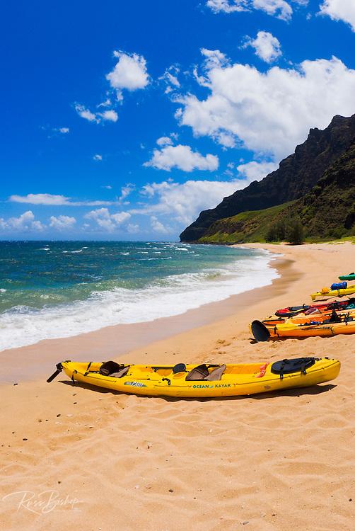 Sea kayaks on Miloli'i Beach, Na Pali Coast, Island of Kauai, Hawaii