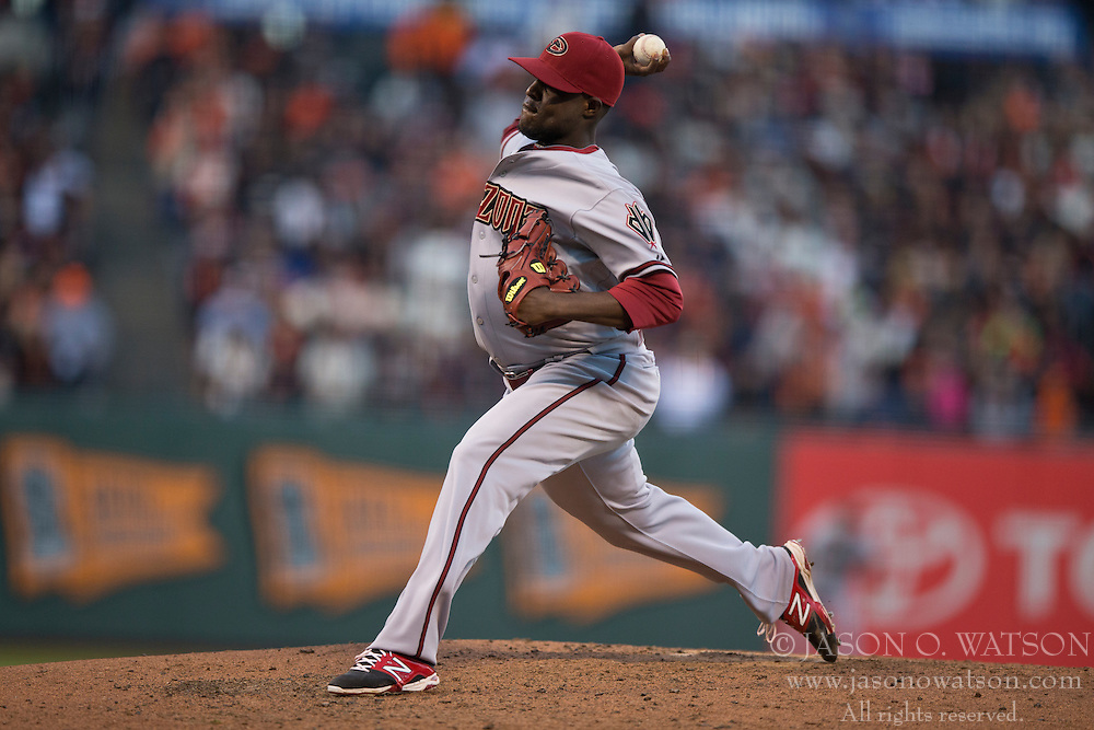 SAN FRANCISCO, CA - APRIL 18:  Rubby De La Rosa #12 of the Arizona Diamondbacks pitches against the San Francisco Giants during the fifth inning at AT&T Park on April 18, 2015 in San Francisco, California.  The San Francisco Giants defeated the Arizona Diamondbacks 4-1. (Photo by Jason O. Watson/Getty Images) *** Local Caption *** Rubby De La Rosa