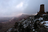 GRAND CANYON, Arizona - 16 December 2019 - The Desert View Watchtower, also known as the Indian Watchtower at Desert View, is a 70-foot-high stone building located on the South Rim of the Grand Canyon within Grand Canyon National Park in Arizona, United States. Picture: Ryan Eyer.