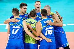 Players of Slovenia celebrate during volleyball match between Slovenia and Chile in Group A of FIVB Volleyball Challenger Cup Men, on July 3, 2019 in Arena Stozice, Ljubljana, Slovenia. Photo by Matic Klansek Velej / Sportida