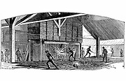 Wrought Iron: Carrying balls of iron from furnace to the squeezer, Phoenix Iron and Bridge Works, Phoenixville, Pa. From 'The Science Record', New York, 1873.