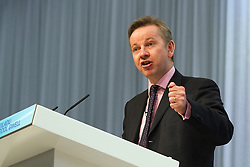 """© under license to London News Pictures. 06/03/2011: Michael Gove addresses the audience at the Conservative Party's Spring Forum in Cardiff. Credit should read """"Joel Goodman/London News Pictures""""."""