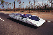 """The """"Just Magic"""" solar car from the UK at the start of the Pentax World Solar Challenge, the first international solar-powered car race. The event began in Darwin, Northern Territories on November 1st, 1987 and finished in Adelaide, South Australia completing 1,950 miles."""