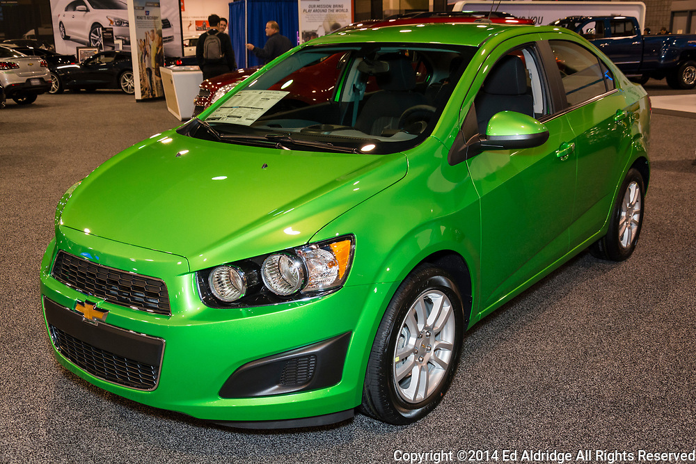 CHARLOTTE, NORTH CAROLINA - NOVEMBER 20, 2014: Chevrolet Sonic sedan on display during the 2014 Charlotte International Auto Show at the Charlotte Convention Center.