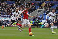 Nottingham Forest's Greg Halford has a shot at goal.  Skybet championship match, Bolton Wanderers v Nottingham Forest at the Reebok Stadium in Bolton, England on Saturday 11th Jan 2014.<br /> pic by David Richards, Andrew Orchard sports photography.