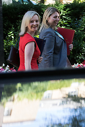 Downing Street, London, July 19th 2016. Justice Secretary and Lord Chancellor Liz Truss and Secretary of State for Culture, Media and Sport Karen Bradley, right, leave the first full cabinet meeting since Prime Minister Theresa May took office.