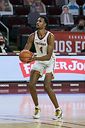 Southern California Trojans forward Evan Mobley (4) attempts a three pointer during an NCAA men's basketball game against the Stanford Cardinal, Wednesday, March 3, 2021, in Los Angeles. USC defeated Stanford 79-42. (Jon Endow/Image of Sport)