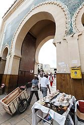 "Bab Bou Jeloud, the ""Blue Gate"", entrance to the Fes al Bali medina, Fes, Morocco"