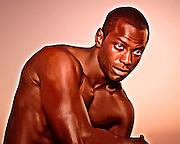Male model portrait during shoot for Lightland book cover