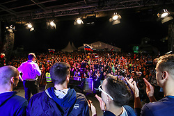 Metod Ropret, president of OZS and fans at celebration outside arena after volleyball match between National teams of Slovenia and Poland in semifinal of 2019 CEV Volleyball Men's European Championship in Ljubljana, on September 26, 2019 in Arena Stozice. Ljubljana, Slovenia. Photo by Matic Klansek Velej / Sportida