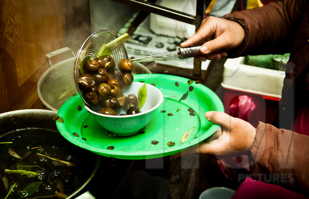 Snails being served at a food stall in Hanoi, Vietnam, Asia