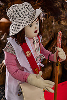 "Henro Doll - The Shikoku pilgrimage route is one of the few circular-shaped pilgrimages in the world. It includes 88 official temples and numerous other sacred sites asscoaited with Kobo Daishi. Walking henro pilgrims take some 6 weeks to complete the journey - the entire route is about 1200 kilometers long which allows one to experience the natural surroundings of Shikoku and presents pilgrims with numerous opportunities to mix with the local people. Henro pilgrims undertake this trip for various reasons but the most underlying one is to ""walk with Kobo Daishi"" as it is believed that Kukai is accompanying them on this journey."